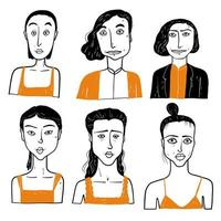 Different faces of women with tank tops vector
