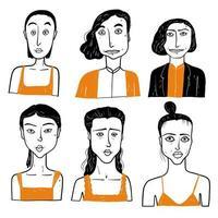 rostos diferentes de mulheres com tops vetor