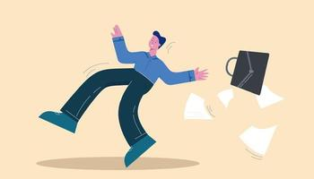 Slipped business man falling with briefcase
