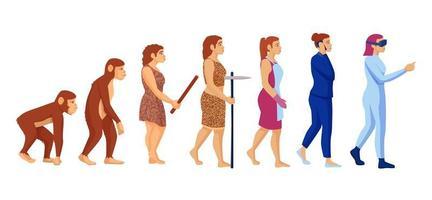 Cartoon character woman career evolution concept