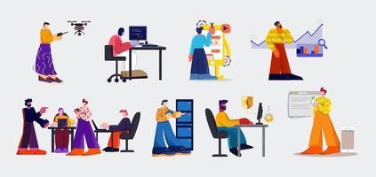 conjunto de pessoas e tecnologia digital
