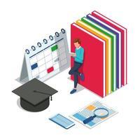 hombre con calendario, libros, gorro de graduación