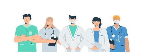 médicos en conjunto de uniformes médicos vector