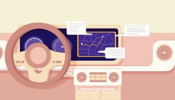 Cartoon car navigation cockpit design vector