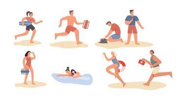 Set of cartoon beach lifeguard people vector
