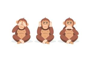 três macacos sentados com os olhos fechados, boca e orelhas vetor