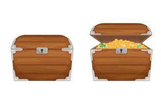cofres abiertos y cerrados de madera de dibujos animados mágicos vector