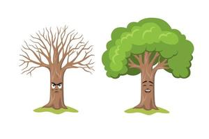 Two happy and sad cartoon tree characters