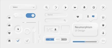 Modern neumorphism ui design set vector