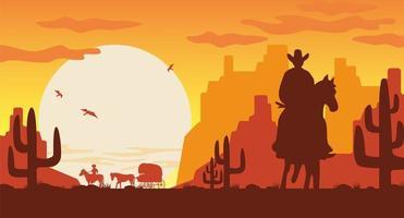 silueta del paisaje del salvaje oeste