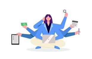 Multitasking business woman using smartphone and laptop