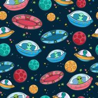 UFO seamless pattern vector