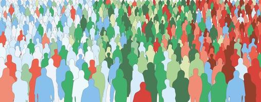 Silhouette of colorful people crowd vector