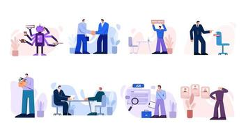 Various characters hire and search for work set vector
