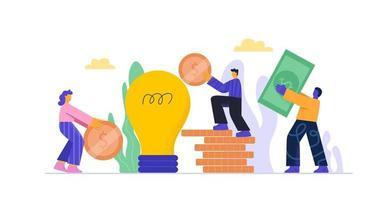 Cartoon people putting money in piggy bank bulb