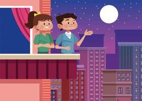 pareja en casa escena del balcón