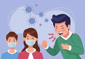 Coughing man and kids in face masks