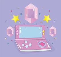 gemas e estrelas de console portátil de videogame vetor