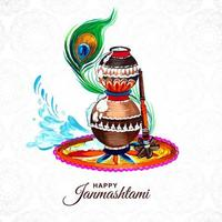 Colorful religious krishna janmashtami greeting background vector