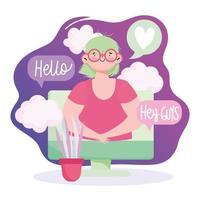 Mujer en video chat computadora monitor pantalla digital hablando