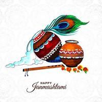 Lovely dahi handi janmashtami festival background vector