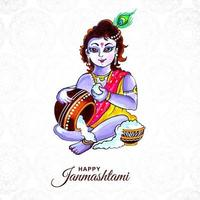 Happy krishna janmashtami card with krishna and pot  vector