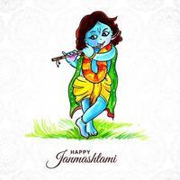 Hindu festival Janmashtami celebrated in India card  vector