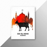 Traditional eid al adha mubarak painted greeting card design  vector
