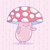 Video Game Red Spotted Fungus Mushroom Character Creature Design vector