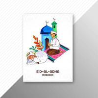 Eid al adha card with ram and man praying vector