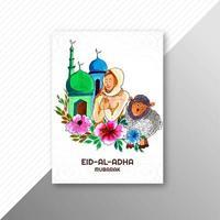 Tarjeta eid al adha con ovejas y mujer rezando vector