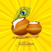 Indian hindu festival of janmashtami celebration card  vector