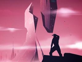 Ilustración del espacio futurista en vector