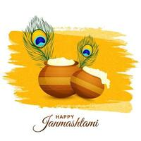 Happy krishna janmashtami card with feathers and pots on yellow  vector