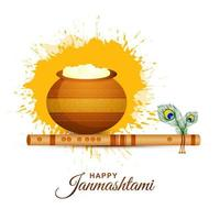 Happy krishna janmashtami card with matki and makhan on white vector
