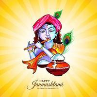 feliz festival de krishna janmashtami tarjeta vector
