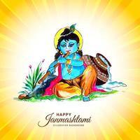 Lord Krishna Happy Janmashtami Festival of India Greeting vector