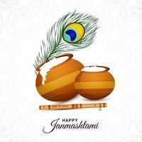 Hermoso fondo de tarjeta de krishna janmashtami religioso vector