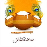 Happy janmashtami festival card with two feathers vector