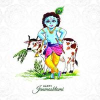 Happy janmashtami greeting card with krishna and cow  vector