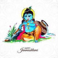 Lord Krishna janmashtami card background vector