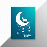 Tarjeta tradicional eid al adha mubarak con cabra y luna vector