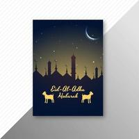 Eid al adha card with mosque silhouette and goats vector