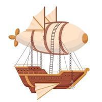 Flying scartoon airship vector