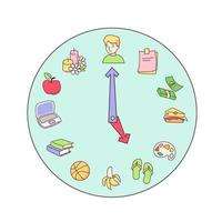 Cartoon clock time with icons for productivity