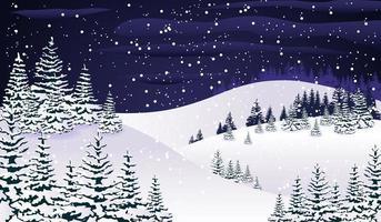 bosque nevado noche invierno vector
