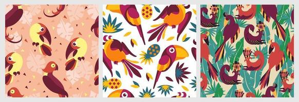 Birds in jungle seamless pattern set vector