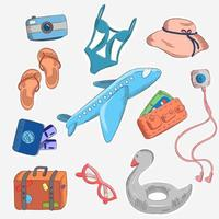 Set of cartoon summer travel icons