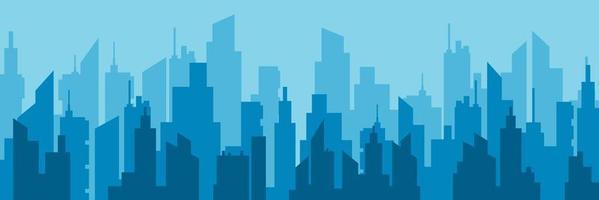 Horizontal blue city skyline vector