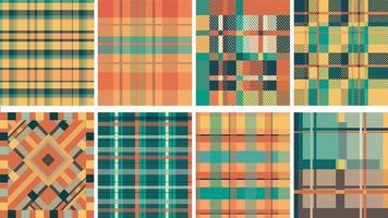 Checkered fabric seamless pattern set vector